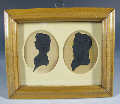 Antique c 1820 American Hollowcut Painted Double Silhouette Boy & Girl #10 yqz