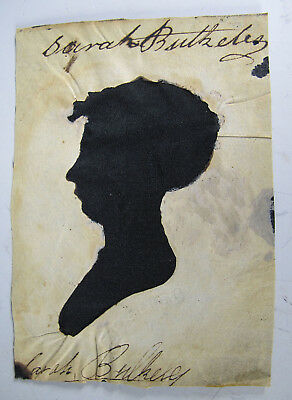 Antique c 1810 Peale's Museum Hollowcut Silhouette Lady Profile Left NR #9 yqz