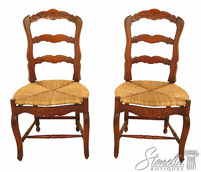 L46427: Pair of Country French Dining Room Chairs w. Rush Seats