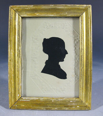 Antique 1831 Cut Paste Silhouette Lady Profile Right Folk Art Portrait #7 yqz
