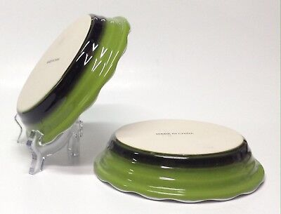 """Set of 2 Green / Stoneware Small Pie Plates size 6"""" -Perfect For Personal Pies"""