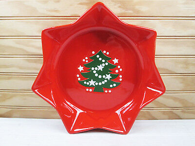 "Vtg Red Waechtersbach Star Shaped Christmas Tree Serving Bowl 10"" Plate Germany"