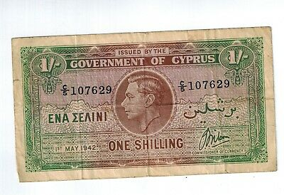 GOVERNMENT OF CYPRUS 1942 1 SHILLING Bill Currency