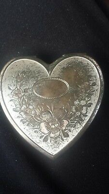 Vintage sterling silver heart compact mirror