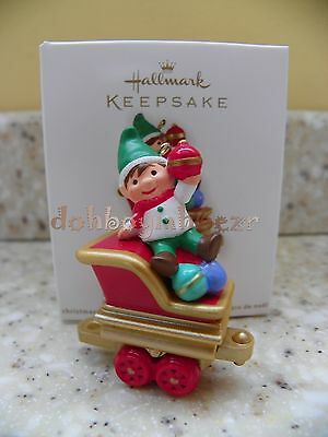 Hallmark 2011 Santa's Holiday Train Happy Helper Elf Christmas Ornament