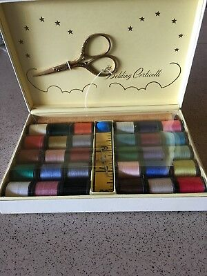 VTG Sewing Darning Kit Belding Hemingway Corticelli Silk Thread Case Scissors