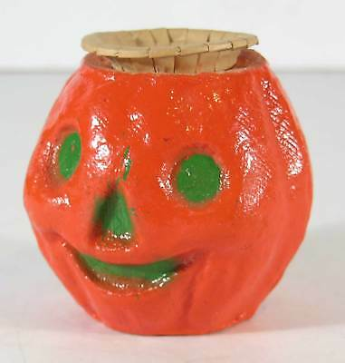 1930s HALLOWEEN JACK-O-LANTERN / PUMPKIN CANDY CONTAINER PAPER MACHE WITH INSERT
