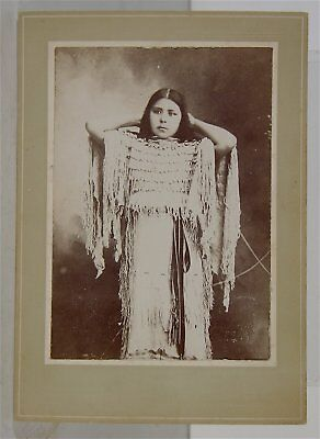 c1890 NATIVE AMERICAN KIOWA INDIAN MAIDEN w/ ELK TOOTH DRESS CABINET CARD PHOTO