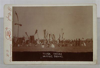 1894 Native American Ponca Indian Dance Grounds / Squaw Dance Cabinet Card Photo