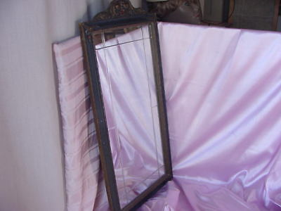 ANTIQUE EARLY 1900s WALL MIRROR BEVELED CUT DESIGN ORIG. OLD VINTAGE GESSO FRAME