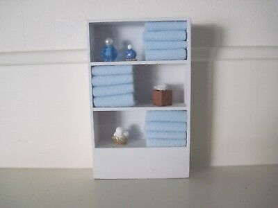 handcrafted  white wooded bathroom cabinet made - Serendipity Miniatures of Ohio