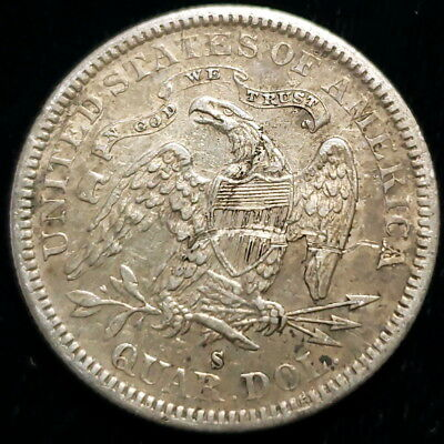 1877 S US Seated Liberty Quarter Dollar .25c Cent Silver Collector Coin 0SLQ7747