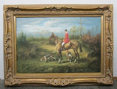 English Fox Hunt Man on Horse w/ Hound Dogs Oil Painting in Ornate Gilt Frame