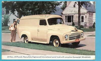 Early 1950's International Delivery Panel Truck Postcard - 1952