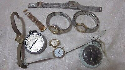 8 PC LOT VINTAGE ANTIQUE WATCHES POCKET WATCHES FOR USE REPAIR PARTS steampunk