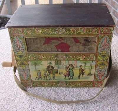 Antique Working Lithograph Wood Wooden Crank Player Organ Grinder Music Box S78