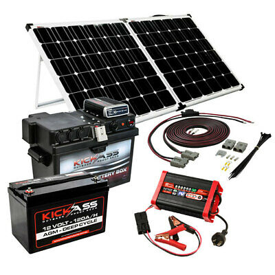KICKASS 12V 120AH AGM Deep Cycle Battery with DCDC Box, Charger & 200W Solar
