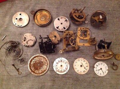 Antique Clock Parts Faces Springs Movements From Clockmakers Spare Parts Chest