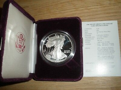 1986 Silver American Eagle - Proof - With COA and original US Mint Box