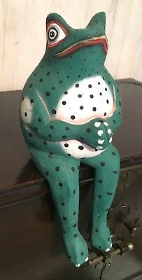 Vintage Hand Carved & Painted Wood Prince Frog Figurine