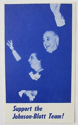 Lyndon Johnson-Genevieve Blatt 1964 Picture Political Postcard From Pennsylvania