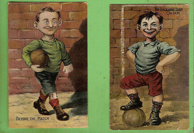 #L.  TWO 1908 COMIC SOCCER FOOTBALL  POSTCARDS - BACKYARD TEAM CAPTAIN etc