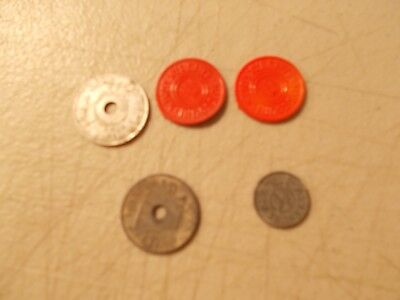 Big handful of #1 Red /& #5 Green plastic Missouri sales tax tokens curled up