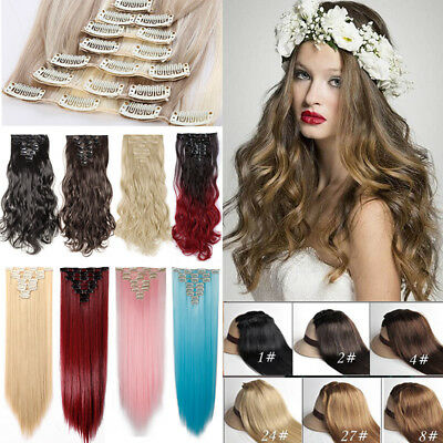 "AU 100% Ombre Natural As Human Hair Extensions Clip In Full Head 17-26"" Long HB5"