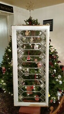Antique Beveled Glass Transom Window ~ 44 X 19 ~  Frosted Jewels  ~ Salvage #1