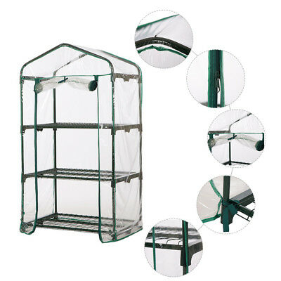Garden Greenhouse Walk-In Green Plant House Shed Storage PE PVC Cover Apex Roof