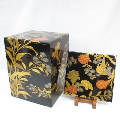A322: Japanese tier of really old lacquered boxes JUBAKO with great flower MAKIE