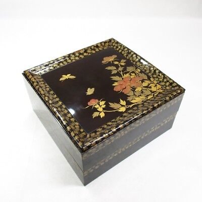 A327: Real old Japanese lacquer ware tiered boxes with beautiful elegant MAKIE