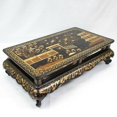 A318 Chinese old lacquered decorative stand with wonderful mother-of-pearl inlay