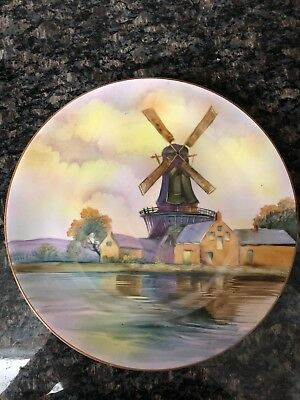 """Nippon Hand Painted Windmill Scene 10"""" Plaque Plate w/ Green M in Wreath Mark"""