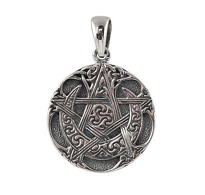 Sterling Silver Moon Pentacle Pendant - Dryad Design Wicca/Pagan Talisman/Amulet