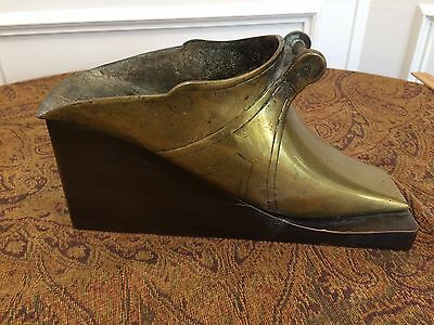 Antique Vintage Cast Brass Art Nouveau Fireplace Coal Scuttle Shoe