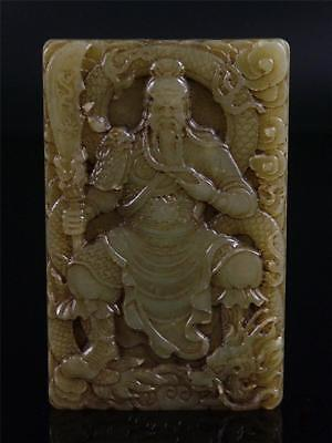 Old Chinese Nephrite Celadon Jade Carved Pendant Netsuke GUAN GONG ~ THE HERO