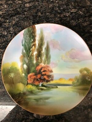 """Nippon Hand Painted Nature Scene 10"""" Plaque Plate w/ Green M in Wreath Mark"""