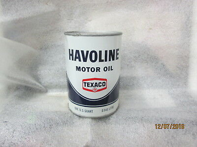 Early Original Havoline Texaco Motor Oil Quart Metal Can Full N.O.S.