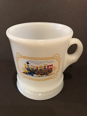 Vintage Avon Steam Train Engine Milk glass Shaving Mug/Cup