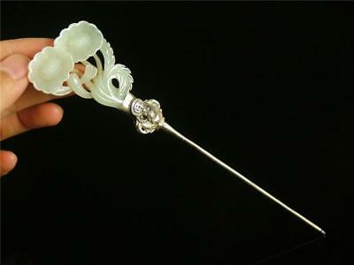 Antique Old Chinese Silver Carved Celadon Nephrite Jade Hair Pin Qing Dy. Floral