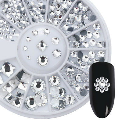 Multi-color  Acrylic Nail Art Rhinestones Round Square 3D Nail Stickers in Wheel
