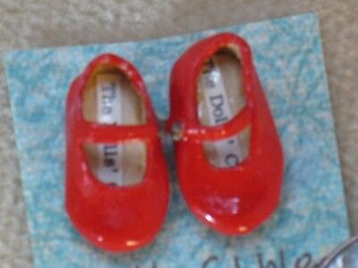 Doll's Cobbler Red Leather Mary Jane Shoes - Artisan Dollhouse Miniature (DC205)