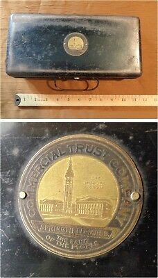 vtg BANK CASH BOX Springfield MA Commercial Trust Company early 1900s