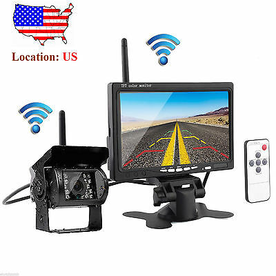 """7"""" Monitor +Wireless IR Rear View Backup Camera Night Vision System For RV Truck"""