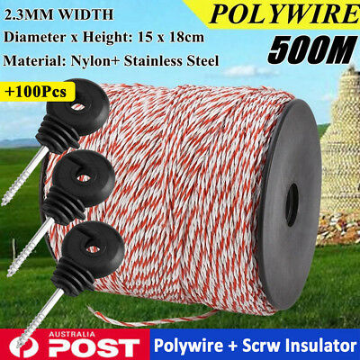 500M Electric Fence Polywire Electric Polyrope Rolling Poly Rope +100 Insulators