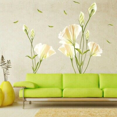 Removable Lily Flower Wall Sticker Living Room Mural Art Decal DIY Home Decor