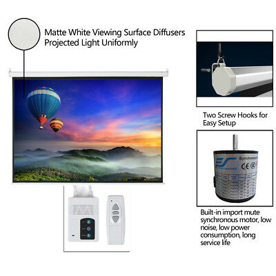 """100"""" 4:3 Foldable Electric Motorized Projector Screen HD Home Theater + Remote"""