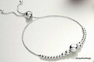"""New/Tags Authentic Pandora Silver Sliding Bracelet String Of Beads 597749-2 9.8"""""""