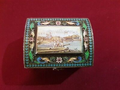 Amazing Antique  Silver Enamel Pictorial Box Russia 19th Century Rare